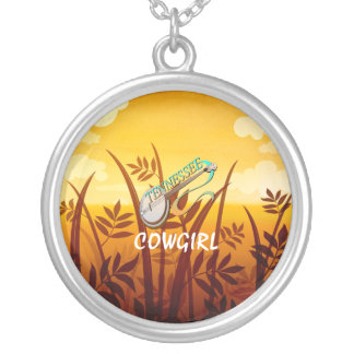 TEE Tennessee Cowgirl Round Pendant Necklace