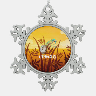 TEE Tennessee Cowgirl Snowflake Pewter Christmas Ornament