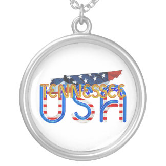 TEE Tennessee Patriot Round Pendant Necklace