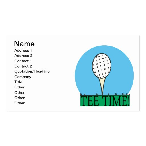 Tee Time Business Card Template