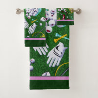 Tee Time Girly Golf Bath Towel Set