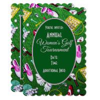 Tee Time Girly Golf Green Tournament Invitation