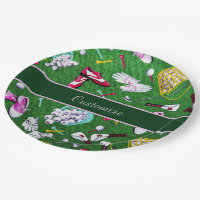 Tee Time Girly Golf Paper Plate