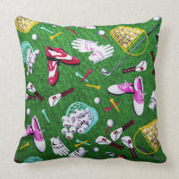 Tee Time Girly Golf Throw Pillow
