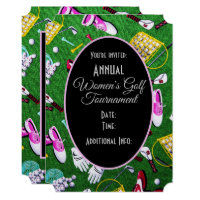 Tee Time Girly Golf Tournament Black Invitation