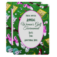 Tee Time Girly Golf Tournament White Invitation