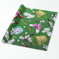 Tee Time Girly Golf Wrapping Paper