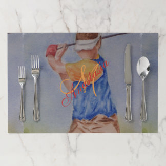 TEE TIME MONOGRAM PARTY PAPER PLACEMAT