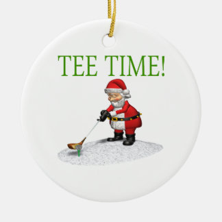 Tee Time Double-Sided Ceramic Round Christmas Ornament