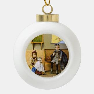 TEE Train Depot Ceramic Ball Christmas Ornament