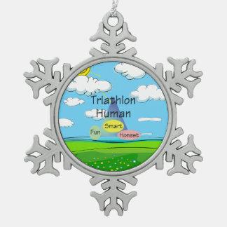 TEE Triathlon Human Snowflake Pewter Christmas Ornament
