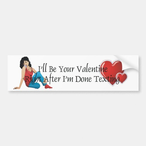 TEE Valentine Texting Car Bumper Sticker