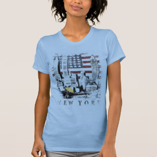 Tee with New York Skyscrape over Stars and Stripes