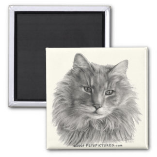 TeeGee, Long-Haired Gray Cat 2 Inch Square Magnet