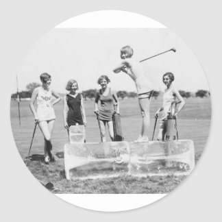 Teeing Off On ICE Womens Golf in Bathing Suits! Classic Round Sticker