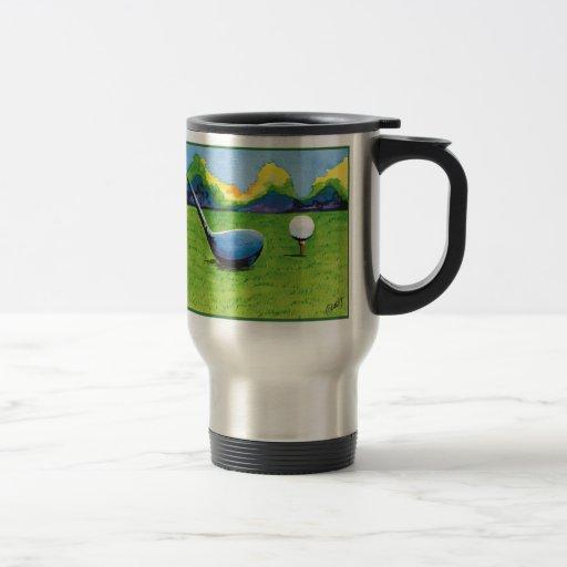 teeing up mug