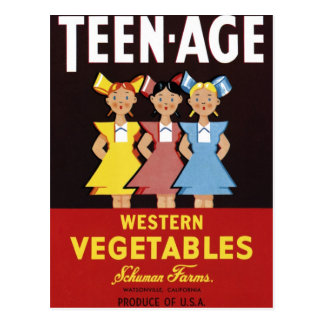 """Teen-Age Western Vegetables""  Postcard"