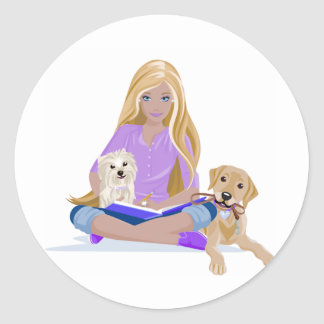 Teen and Her Dogs Classic Round Sticker