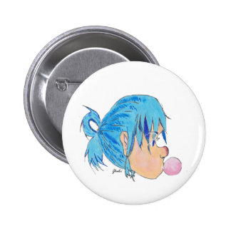 Teen blowing a bubble with gum pinback button