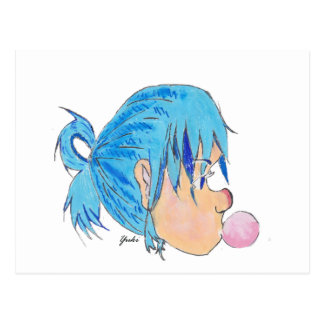Teen blowing a bubble with gum postcard