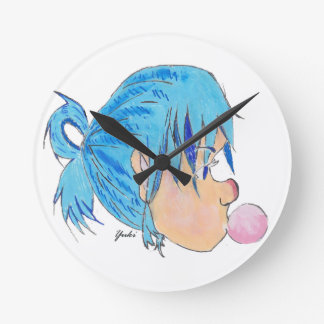Teen blowing a bubble with gum round clock