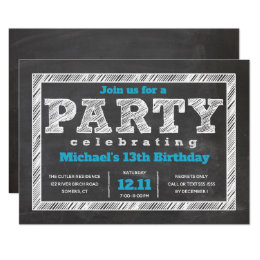 Teen birthday invitations announcements zazzle teen boy birthday invitation chalkboard blue card bookmarktalkfo Gallery