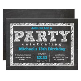 Teen Boy Birthday Invitation, Chalkboard, Blue Card