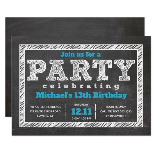 Teen Boy Birthday Invitation Chalkboard Blue