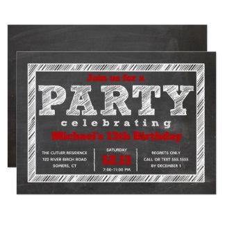 Teen Boy Birthday Invitation, Chalkboard, Red Card