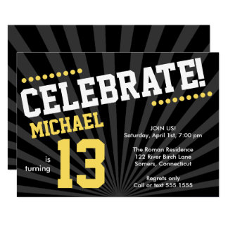 Teen Boy Birthday Invitation, Yellow and Black Card