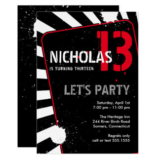 Teen Boy Party Invitation | Black, White and Red