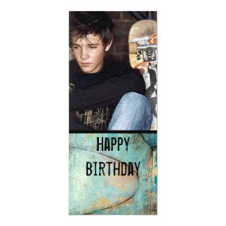 "teen boy photo invite 4"" x 9.25"" invitation card"