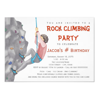 Rock Climbing Party Invitations Announcements Zazzle - Birthday party invitations rock climbing
