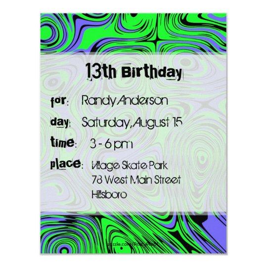 Teen Boys Birthday Party Invitations, Green Invitation