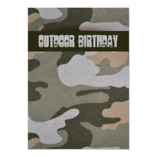 Teen Boys Outdoor Camo Birthday Party 5x7 Paper Invitation Card