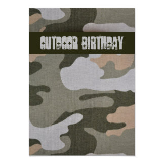 Teen Boys Outdoor Camo Birthday Party Card