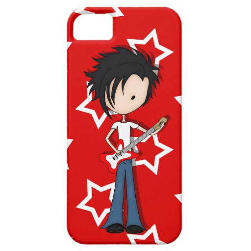 Teen Emo Boy Rock Guitarist with Black Hair iPhone 5 Cases