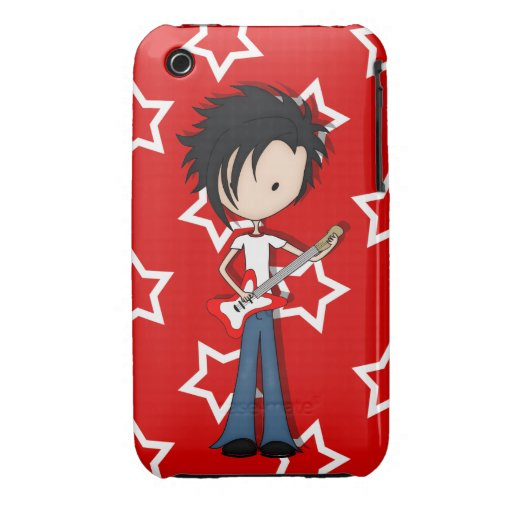 Teen Emo Boy Rock Guitarist with Black Hair iPhone 3 Covers