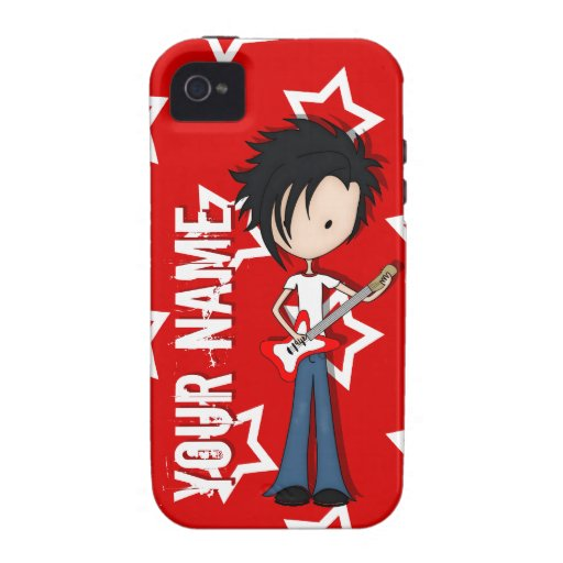 Teen Emo Boy Rock Guitarist with Black Hair Vibe iPhone 4 Covers