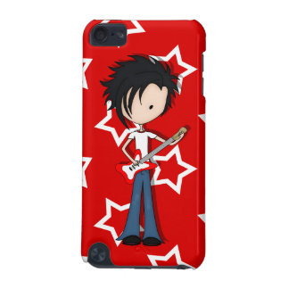Teen Emo Boy Rock Guitarist with Black Hair iPod Touch (5th Generation) Case
