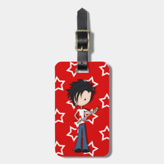 Teen Emo Boy Rock Guitarist with Black Hair Tag For Luggage