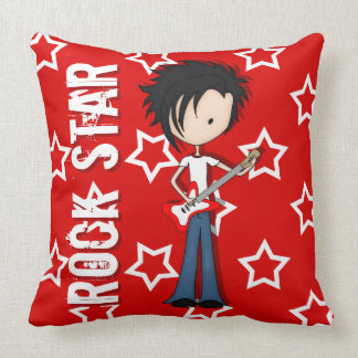 Teen Emo Boy Rock Guitarist with Black Hair Throw Pillow
