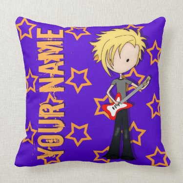 Teen Emo Rock Guitarist Musician with Blonde Hair Throw Pillows