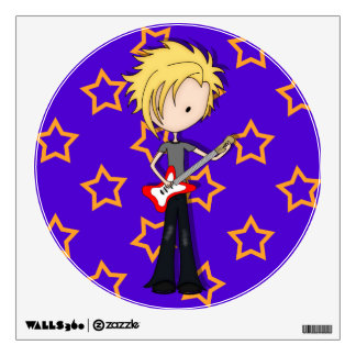 Teen Emo Rock Guitarist Musician with Blonde Hair Wall Decal