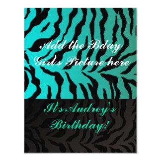 Teen Girl Birthday Party Invitations Aqua Zebra