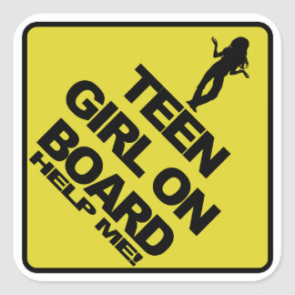 Teen Girl on Board - Help Me! Square Sticker