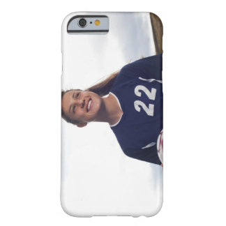 teen girl soccer player holding soccer ball barely there iPhone 6 case