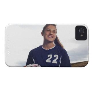 teen girl soccer player holding soccer ball iPhone 4 Case-Mate case