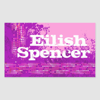 Teen girl sports name purple pink id label sticker