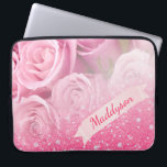 """Teen Girls Personalized Sparkly Glitter Rose Computer Sleeve<br><div class=""""desc"""">Personalize this teen girls laptop sleeve by changing the existing name to your own! The design is pink and white and features pink sparkly glitter over pink roses.</div>"""